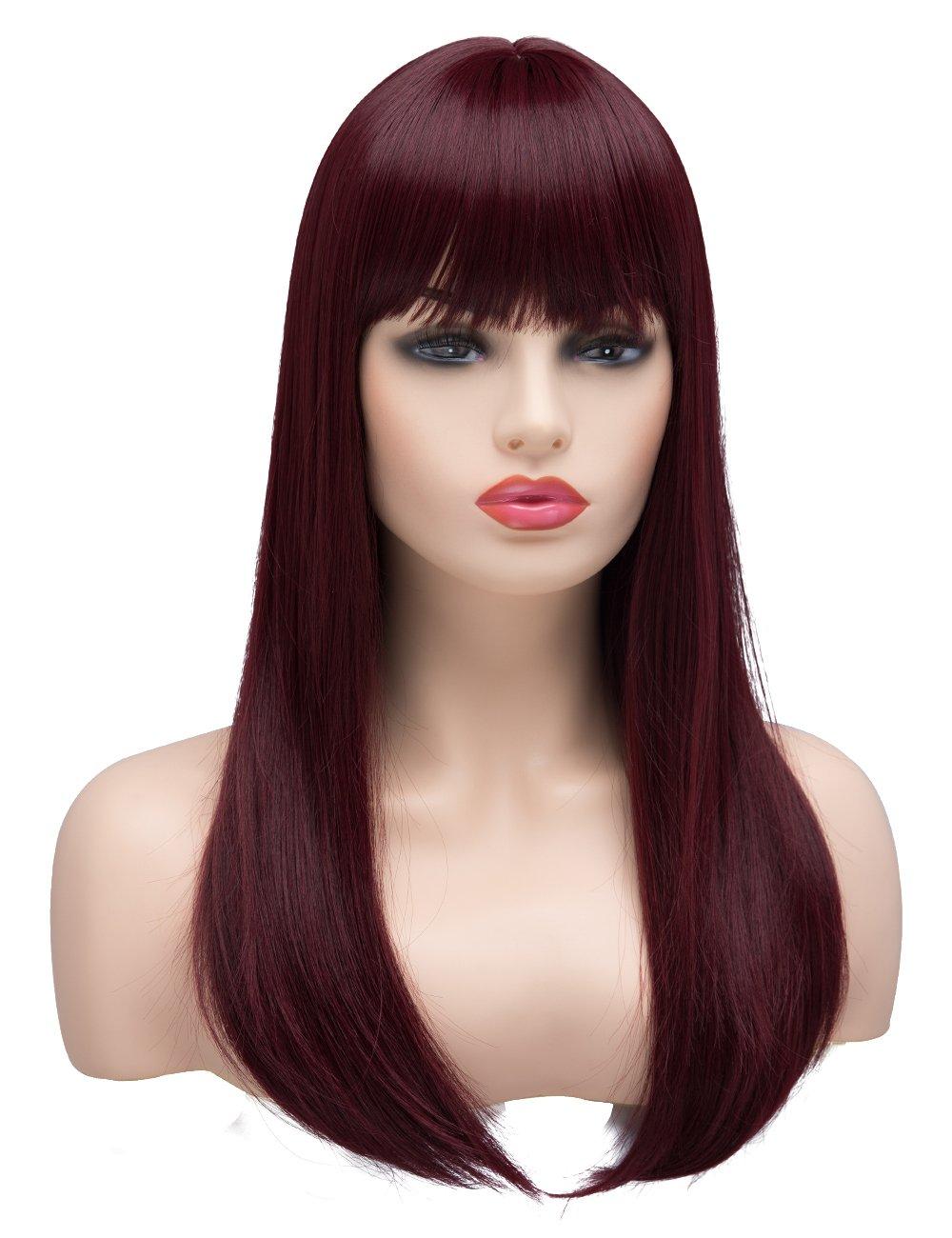 BESTUNG lungo parrucche per donna rettilineo sintetico naturale dei capelli Borgogna vino rosso ombre parrucca con Bang per cosplay o la vita quotidiana