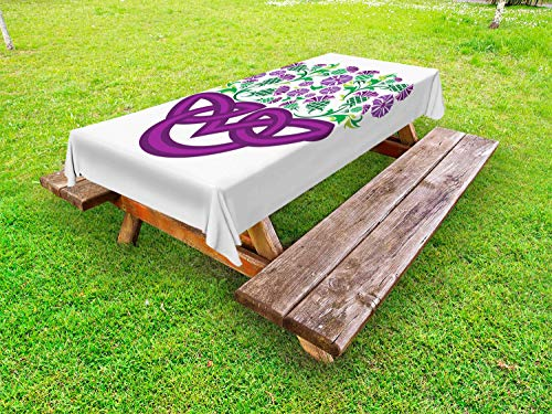 Ambesonne Thistle Outdoor Tablecloth, Celtic Knot and Thistle Plant in Basket Form with Flowers, Decorative Washable Picnic Table Cloth, 58 X 120 Inches, Shamrock Green Violet and - Basket Thistle