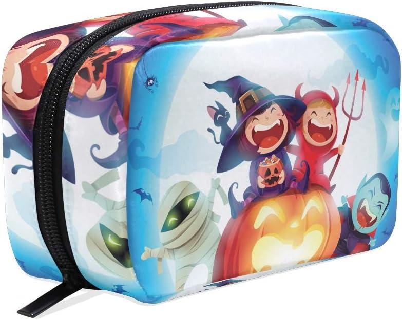ISAOA Halloween Niños Disfraz Fiesta Portátil Viaje Mini Bolsa de Maquillaje Impermeable Cosmético Estuche Organizador Kit de Maquillaje Neceser Bolsa de Halloween Belleza: Amazon.es: Hogar