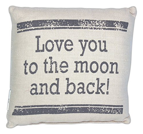 Country House Collection Primitive Sentimental Cotton 8 x 8 Throw Pillow (Love You to the Moon)