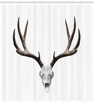 ABAKUHAUS Astas Cortina de Baño, Cráneo de Ciervo Esqueleto Cabeza Hueso Noche de Brujas Antiguo