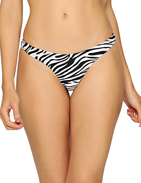 2ee5f949123 RELLECIGA Women's Zebra Print High Cut Thong Bikini Bottom Size Small