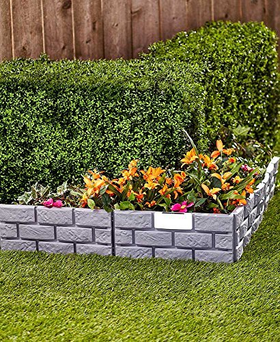The Lakeside Collection Solar Lighted Brick-Look Border- Gray