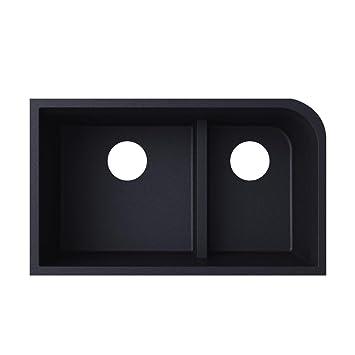 Swanstone QULD-3322.077, Granite Undermount Double Bowl Kitchen ...