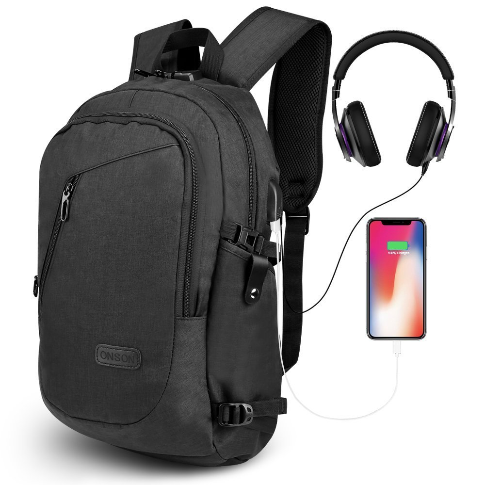 ONSON Anti Theft Laptop Backpack, Business Water Resistant Backpack Travel Bag with USB Charging Port & Headphone Interface for Men&Women College Student,Fits 15.6 inch Laptop & Notebook - Black by ONSON