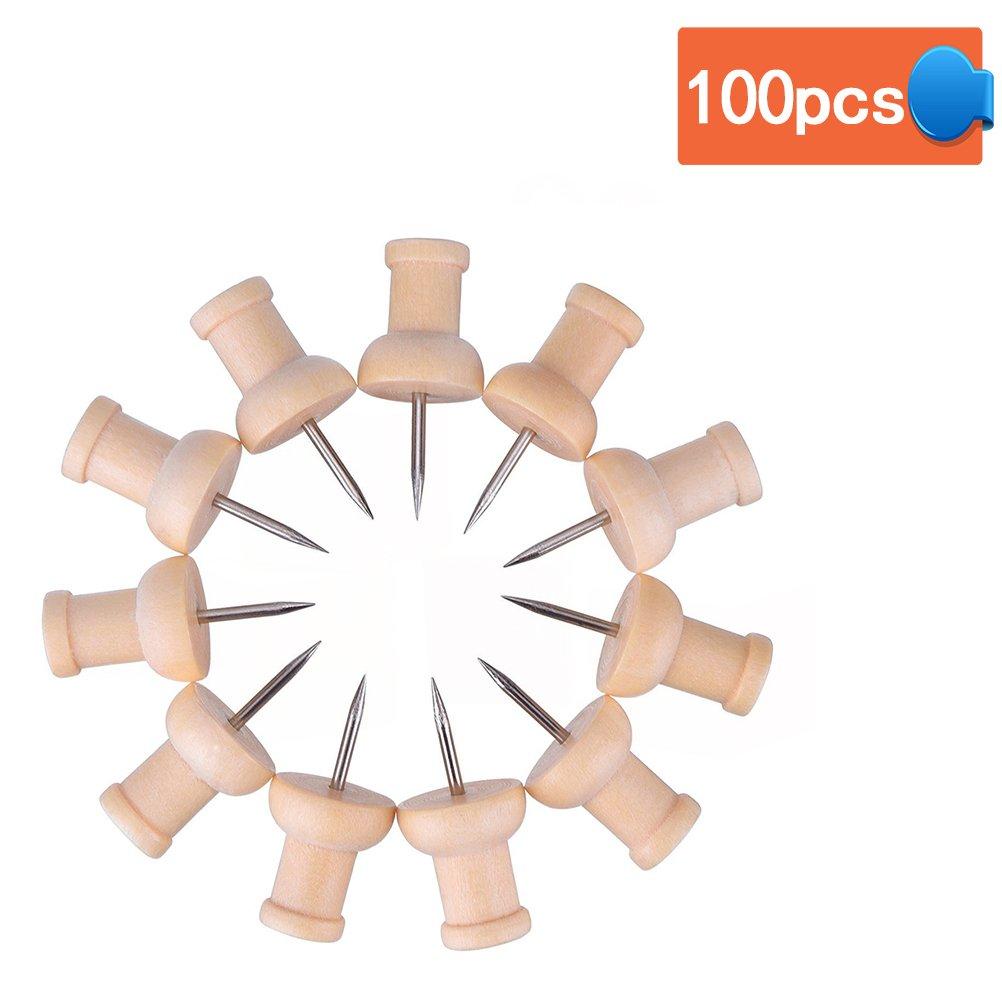BESTOMZ Puntine disegno chiodini Puntine da disegno Puntina con testa in legno e punta in acciaio 100pcs