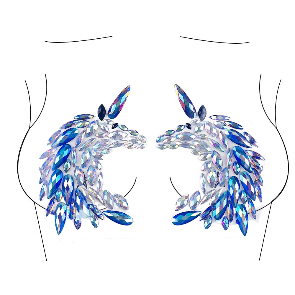 Glitter Unicorn Body Jewels Rave Festival Rhinestone Face Body Jewelry Stick On Crystal Tattoo Nipple Chest Crystal Body Gem Stones Stickers - Blue Yunjia