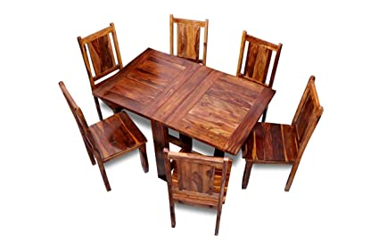 Pleasant Mv Furniture Pure Sheesham Wood Dinning Table 6 Seater Foldable Dining Table With Chairs 6 Seater Natural Brown Pdpeps Interior Chair Design Pdpepsorg