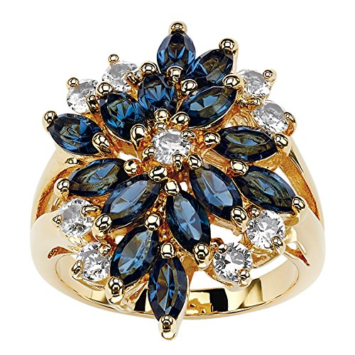 (Palm Beach Jewelry 18K Yellow Gold Plated Marquise Shaped Blue Floral Ring Made with Swarovski Elements Size 7)