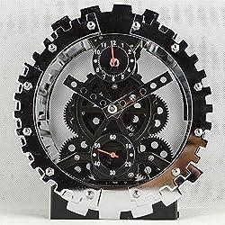 XKS Antique Mechanical Clock - German Double Gears Clock - Gear Watches - New Strange Gifts Alarm Clock - Living Room Bedroom,Black