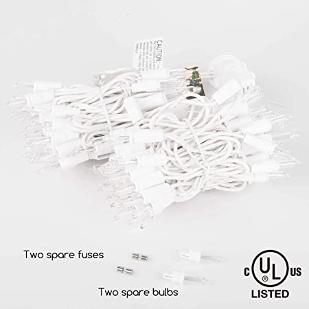 Christmas Tree Mini String Lights 21ft 100 Counts Clear White Wire