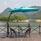 MYAL 9ft Offset Patio Umbrella Outdoor Umbrella Turquoise For Sale