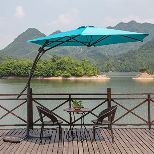 MYAL 9ft Offset Patio Umbrella Outdoor Cantilever Umbrella Turquoise