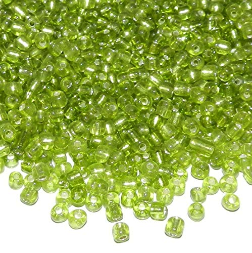 - Glass Seed Bead 450-grams Peridot Green Silver Lined Transparent 6/0 4mm AG01