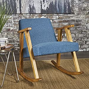 Christopher Knight Home 302187 Nero Rocking Chair Mid Century Modern, Danish Styling Upholstered Fabric, Muted Blue, Light Walnut