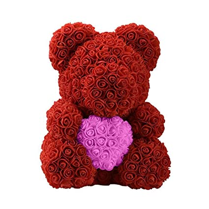 Cute Pe Rose Bear Toy Women Girls Flower Birthday Wedding Decoration Party Doll Toy Anniversary Valentine Gift For Girl Friend Fancy Colours Artificial & Dried Flowers Home & Garden