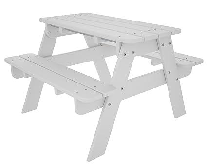Amazoncom POLYWOOD KTWH Kids Picnic Table White Garden Outdoor - Polywood picnic table with benches