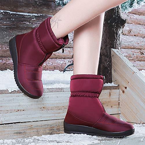 Invierno Botas Para Rojo Casuales Nieve De Antideslizante Zapatos Bozevon La Femenino Impermeable Mujeres Calzado Vino qEwgBdHH7