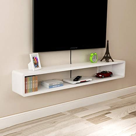 ZPWSNH Repisa en la Pared Gabinete para TV TV Estante TV Fondo decoración en la Pared Set-Top Box enrutador Estante DVD Consola de TV Mueble para TV de Pared (Color : Black,