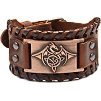 Viking Bracelet Adjustable Bangle - Mens Leather Bracelet Handmade with Nordic Amulet - Celtic Pagan Jewelry of Talisman