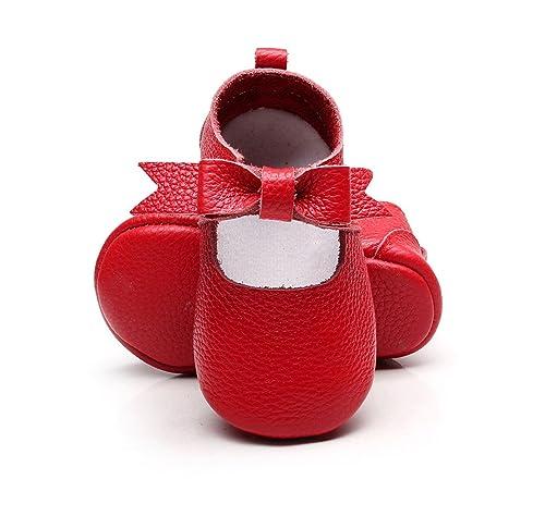 Bebila Genuine Leather Mary Jane Baby Girls Shoes Bow Crib Toddler Sandals Classic Tassel Heart Moccasins