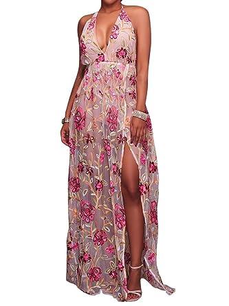 95cfb467f4 Womens Sexy Embroidered Floral Boho Sheer Mesh Halter V Neck Split A Line Maxi  Dress Rose