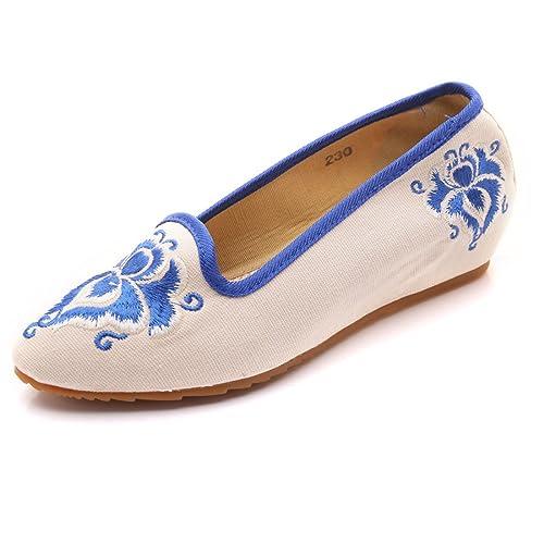 Pisos Ocasionales Bordados del Dedo del pie de la Suela Suave de Las Mujeres Elegantes Zapatos