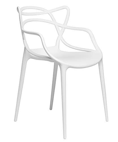 Set of 2 – Masters Entangled Chair – Modern Designer Armchairs for Dining Rooms, Offices and Kitchens White