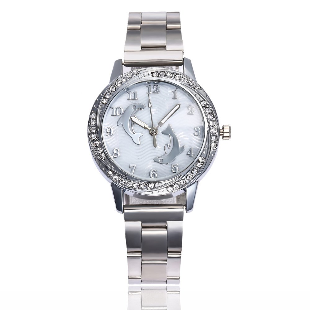 Women Watch Dolphin Stainless Steel Quartz Watch Casual Dress Wristwatch (Silver)