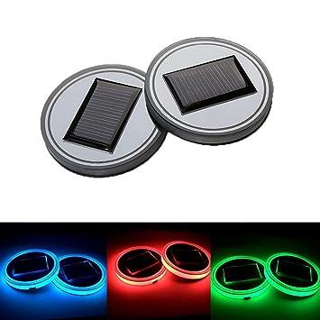 Ralbay Light Sensor Solar LED Auto Cup Halter Matte Pad Wasserdicht Flasche Getr/änke Untersetzer integrierte Vibration automatisch auf bei Dark Universal Blaue Farbe Licht
