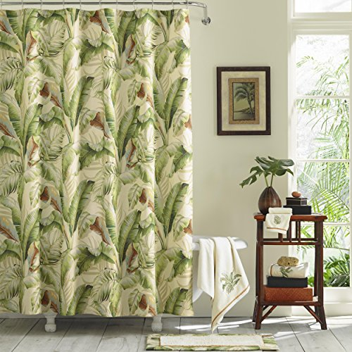 Palm Leaves Shower Curtain, Green, Brown, Ivory