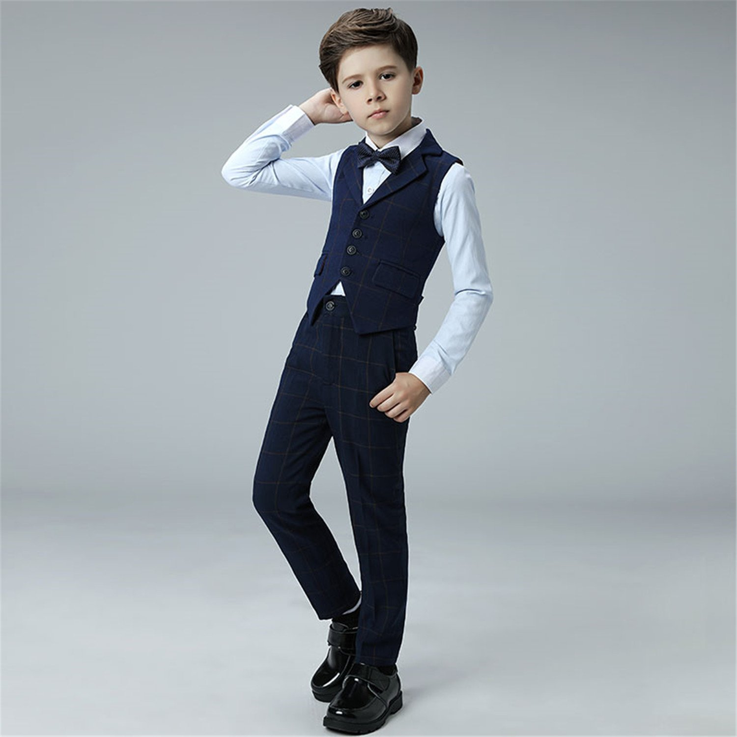 Amazon.com: Yanlu 4 Piece Kids Boys Formal Vest Suits Sets Plaid ...