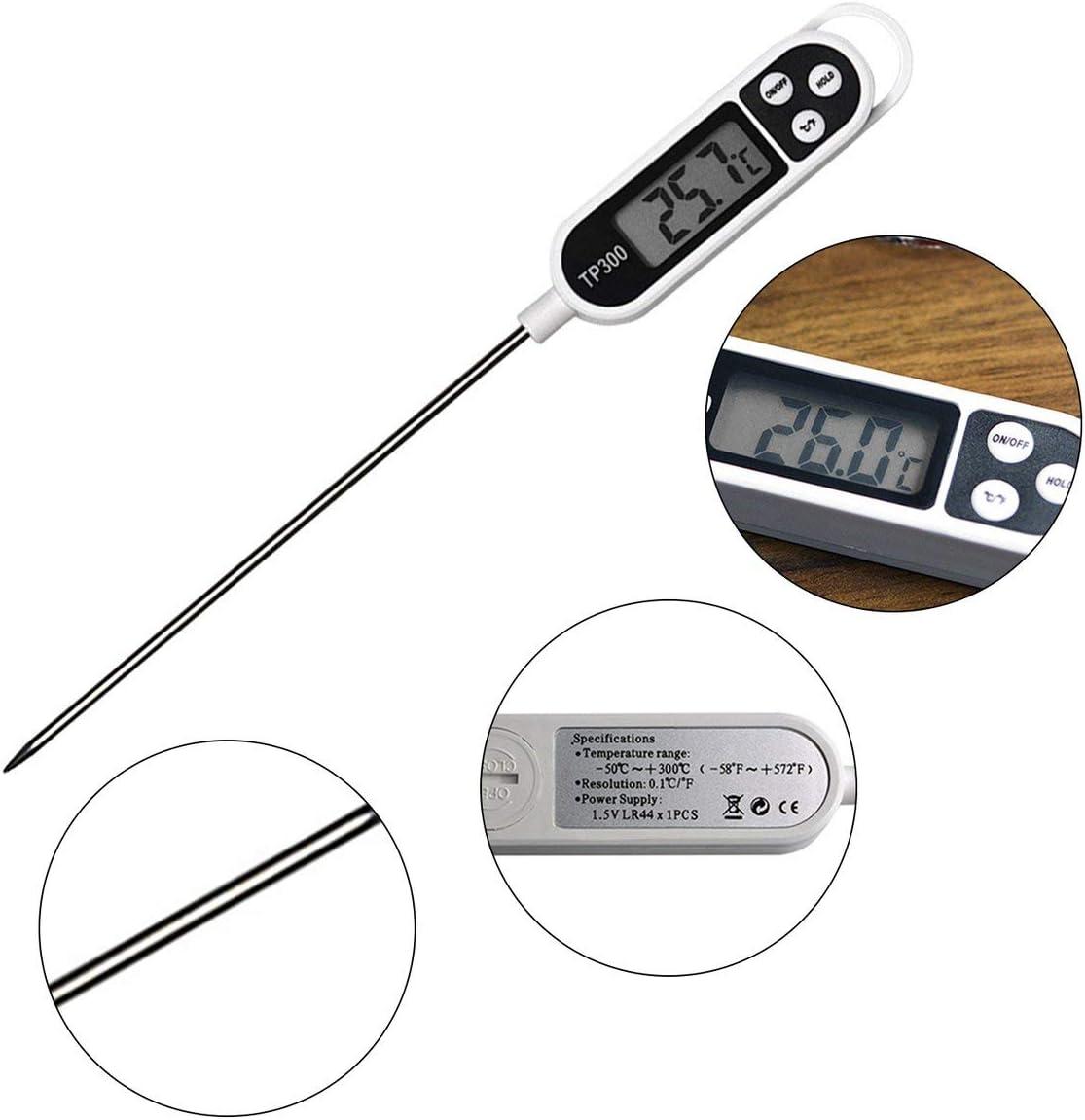 Termometro digitale per alimenti TP300 Carne di latte Tacchino Strumento di cottura Struttura a penna Sonda alimentare per cucina Barbecue-bianco e nero BCVBFGCXVB