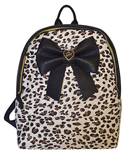 Betsey Johnson Leopard Bow Nanza Backpack Black Creme Multi