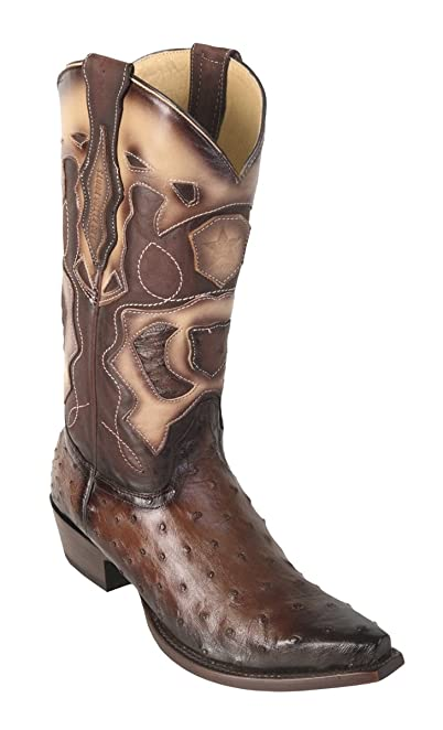 Genuine OSTRICH QUILL GREY WIDE SQUARE Toe Los Altos Men's Western Cowboy Boot 8220309