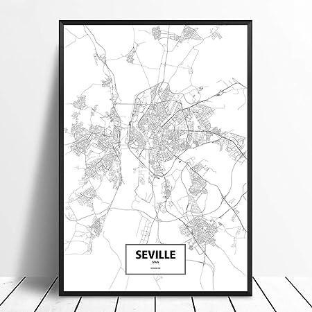 Cuadro En Lienzo,Sevilla España Negro Blanco Mundo Custom Mapa ...