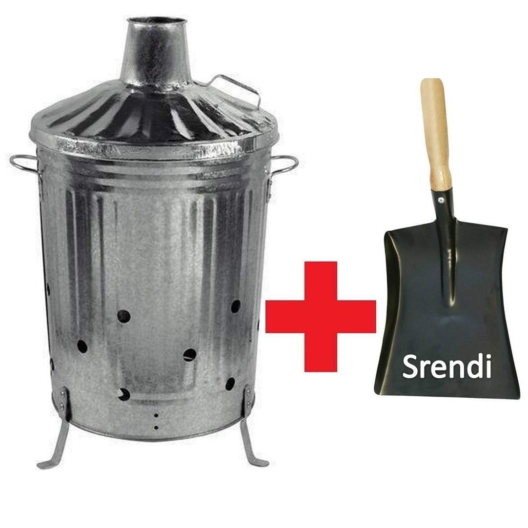 Srendi® 90L Litre Metal Galvanised Garden Incinerator Fire Bin Burning Leaves Paper Wood Rubbish Dustbin with Wooden Handle Shovel Free Made in U. K.
