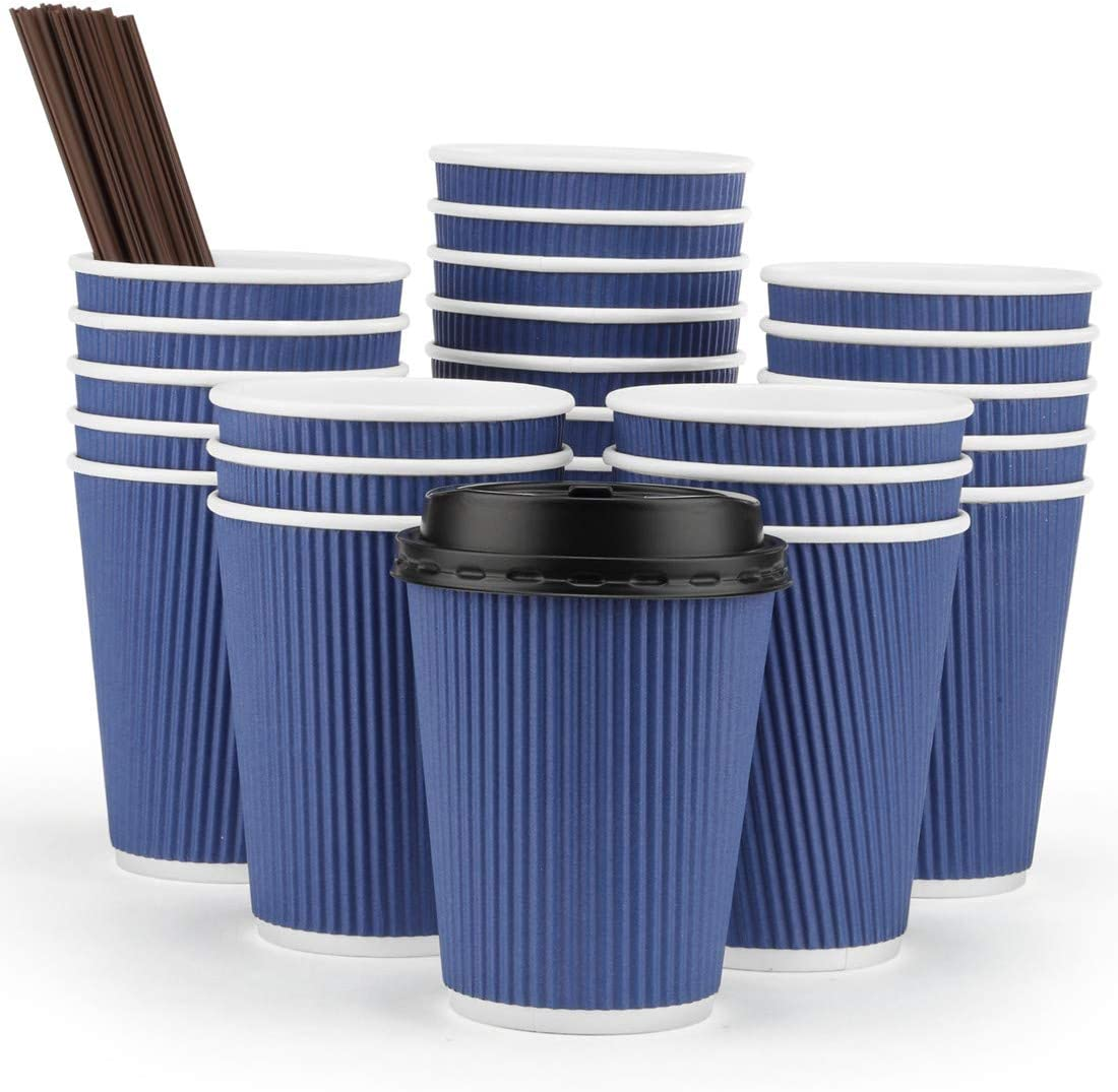 Eupako 12 oz Disposable Paper Coffee Cups with Lids and Straws 80 Set, Insulated Corrugated Sleeve Hot Drink Cups To Go, Perfect for Hot and Cold Drinks, Blue