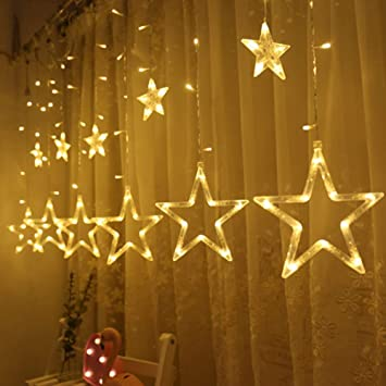 Decorations For Christmas.Twinkle Star 12 Stars 138 Led Curtain String Lights Window Curtain Lights With 8 Flashing Modes Decoration For Christmas Wedding Party Home