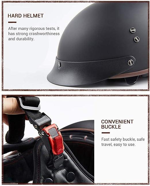 GAOZH Classic Moto Casco Scodella,Vintage Harley Moto Jet Caschi,retr/ò Aperto Scooter Caschi Motorino Bike Portatile Mezzo Casco,con Visiera Parasole,ECE Certificazione