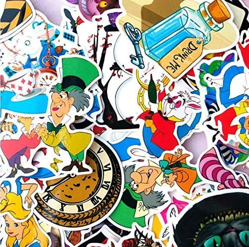 Cartoon Alice In Wonderland Graffiti Stickers Suitcase Mobile Phone Skateboard Waterproof Pvc Car Stickers 70 Sheets