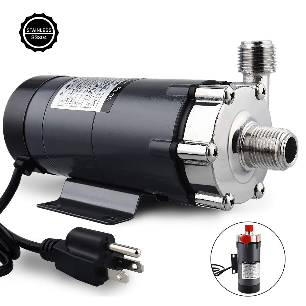 "FERRODAY Magnetic Drive Pump Wort Pump Food Grade High Temperature Stainless Head Magnetic Pump 15RM with 1/2""NPT thread Home Brew"