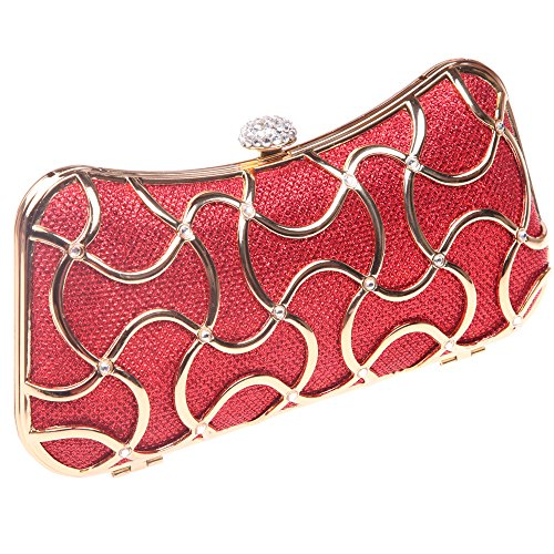 Clutch Handle Black Bonjanvye Evening Metal With Red Bags Women For AxqB5U