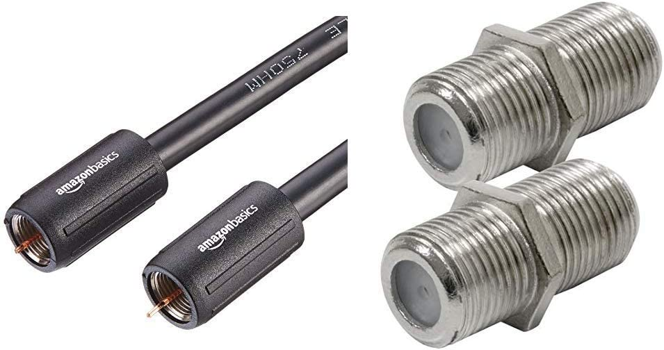 AmazonBasics CL2-Rated Coaxial TV Cable - 4 Feet & GE RG6 Coaxial Cable Extension Adapter, 2 Pack, Works on F-Type Cables, Compatible with All Brands of Coax Cables, Simple Setup,, Nickel Plated