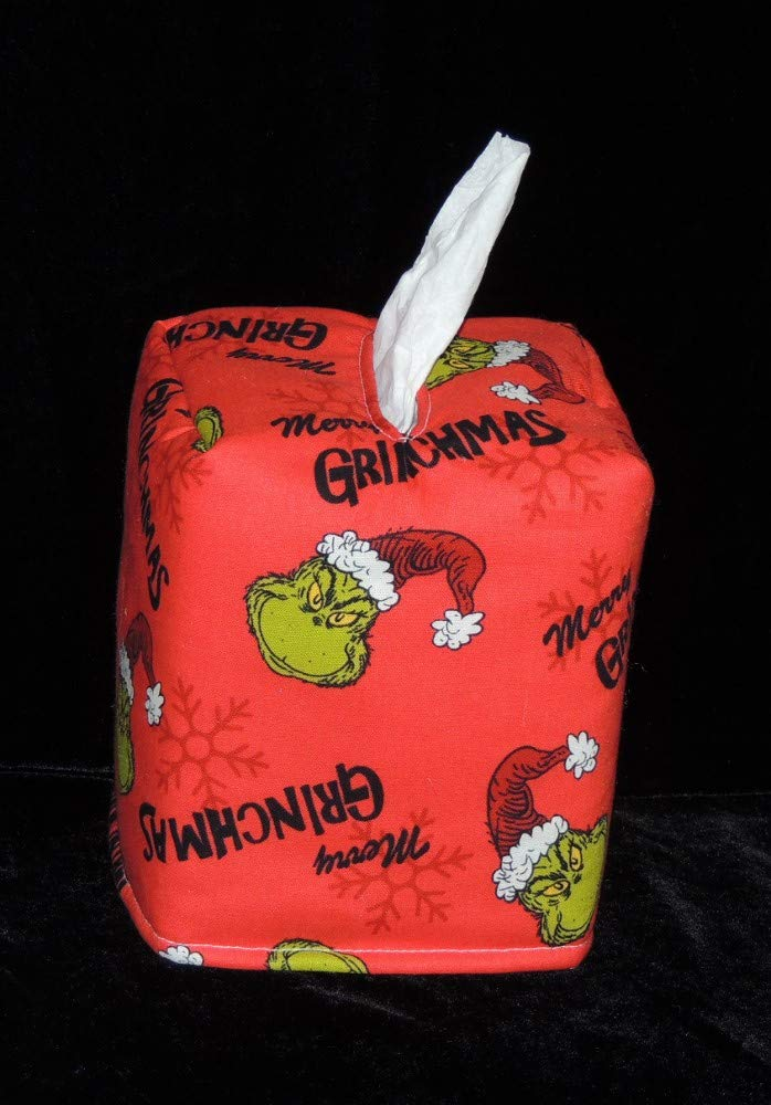 Fabric is Fully Lined and Hand Made. Tissue Box Cover Its a Mr Grinchmas Christmas