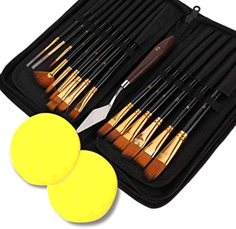 Juego de pinceles para pintar, juego de pinceles de acuarela con bolsa, espátula y esponjas, cepillo plano para pintura de acuarelas, pintura al óleo, pincel de nailon premium para principiantes: Amazon.es: Electrónica