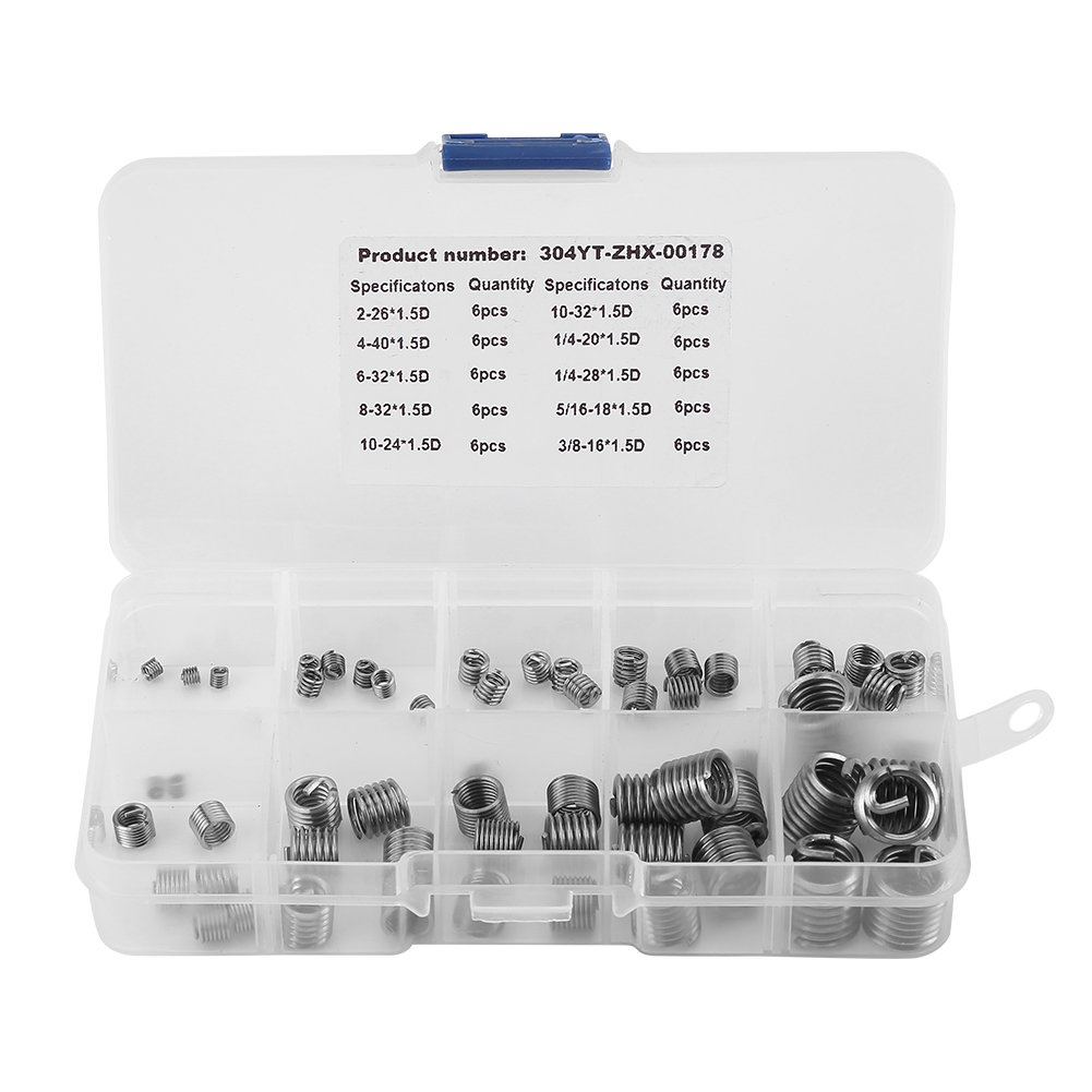 60Pcs Wire Threaded Inserts, 304 Stainless Steel Helicoil Wire Thread Repair Insert Thread Repair Assortment Kit, Wire Insert Thread with Box