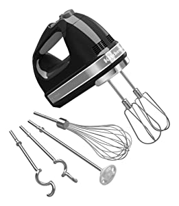 KitchenAid KHM926OB 9-Speed Digital Hand Mixer with Turbo Beater II Accessories and Pro Whisk - Onyx Black