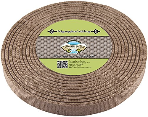 Country Brook Design 1-Inch Polypropylene Webbing, 100-Yard, Beige Chocolate