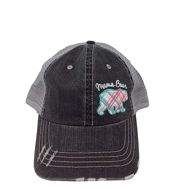 2f7465568d4 Image Unavailable. Image not available for. Color  Katydid Mama Bear Plaid  Pastel Trucker Hat-Pink